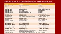 Calendarización de asambleas regionales, juntas Y VISITAS 2015