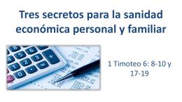 Tres secretos para la sanidad económica personal