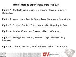 Intercambio entre SEDIF sobre experiencias en Desarrollo