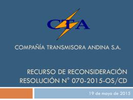 Sustitución de válvulas de paso (res n°182-2014-os/cd)