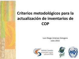Criterios metodológicos para la actualización de inventarios de COPs