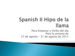 Spanish II Hipo de la llama