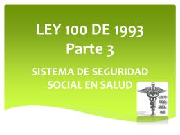 LEY 100 DE 1993 Parte 2 - Programa Promoción de la Salud