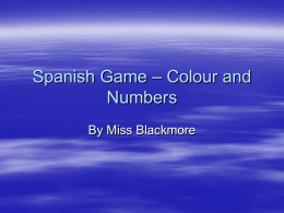 Spanish Game – Colour and Numbers - SBAS