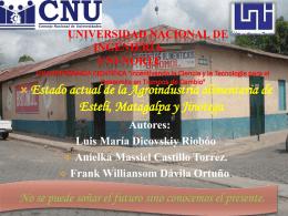 Estado actual de la Agroindustria alimentaria de Estelí, Matagalpa y