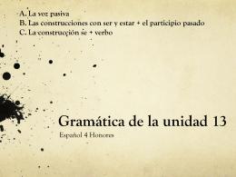 SER y ESTAR Gramática de la unidad 13