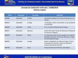 Jornada de Cedulación miércoles 13/08/2014
