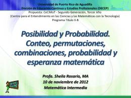 Conteo, permutaciones, combinaciones, probabilidad y