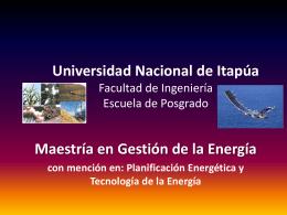 Maestría en Gestión de la Energía