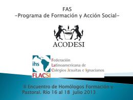 PROGRAMA DE FORMACIÓN Y ACCIÓN SOCIAL DE LOS