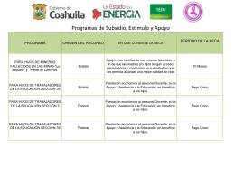 Programas de Subsidios, Estímulos y Apoyos