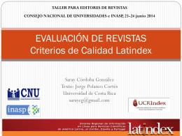 Evaluación de revistas, criterios de Latindex