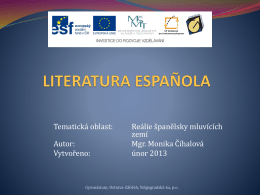 literatura española - Gymnázium Volgogradská 6a