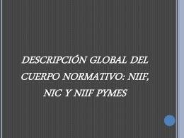 DESCRIPCIÓN GLOBAL DEL CUERPO NORMATIVO: NIIF NIC Y