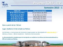Prueba TOEFL ITP Semestre 2013