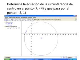 Determina la ecuación de la circunferencia de centro en el punto (7