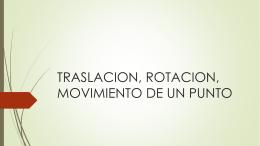 Traslación, Rotación, movimiento de un punto