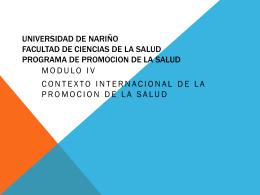 Marco de la UIPES - Programa Promoción de la Salud