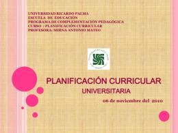 PLANIFICACIÓN CURRICULAR - urp