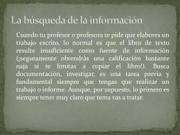 Elección del tema y búsqueda de la información