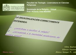 Desacralización - sociologia-religion-puj-2012