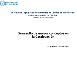Desarrollo de nuevos conceptos en la Catalogación