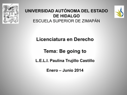 Be going to - Universidad Autónoma del Estado de Hidalgo