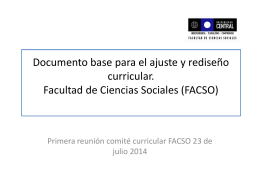 Documento base para el ajuste y rediseño curricular. Facultad de