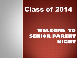 Senior Parent Night - John A. Ferguson Senior High School
