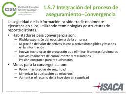 1.5.7 Integración del proceso de aseguramiento  Convergencia