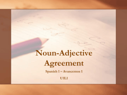 Noun-Adjective Agreement
