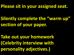 Celebrity interview with personality adjectives.