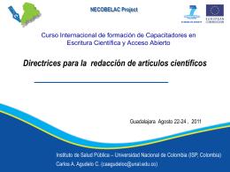 Carlos Agudelo: Directrices para la redacción de