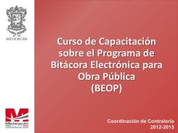 Curso de Capacitación BEOP Marzo Municipios 2013