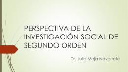 PERSPECTIVA DE LA INVESTIGACIÓN SOCIAL DE SEGUNDO