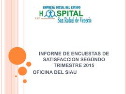 segundo trimestre 2015 - Hospital ESE San Rafael de Venecia