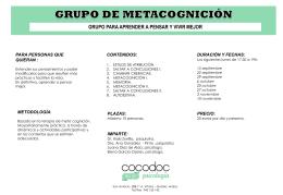 grupo de metacognición grupo para aprender a pensar y vivir mejor