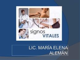 LOS SIGNOS VITALES - Licenciada María Elena Alemán B.