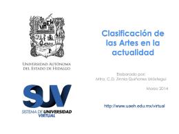 Clasificación de las artes en la actualidad