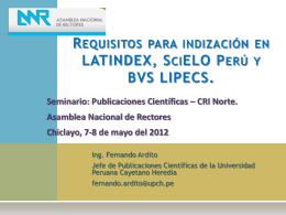 Requisitos para indizacion en LATINDEX SciELO LIPECS