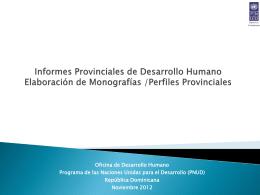 Elaboración de Monografías a modo de Perfiles Provinciales