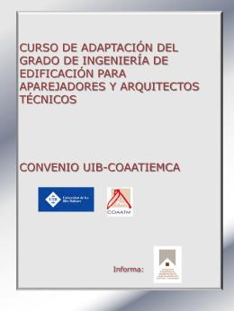 el curso de adaptación - Col·legi Oficial d`Aparelladors i Arquitectes