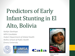 Predictors of Early Infant Stunting in El Alto, Bolivia