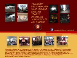 Salas Lounge Edecanes Stand¨s Pirotecnia audio