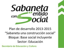 Presentación Plan de Desarrollo Sabaneta una