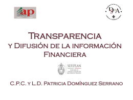 Transparencia y Difusión de la información Financiera