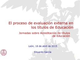 Procesos de evaluación externa en los títulos de educación