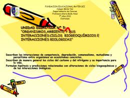 Unidad Nro. 5 ciclos biogeoquimicos 7º