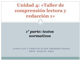 Unidad 4: «Taller de comprensión lectora y redacción 1»
