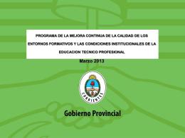 Plan de Mejoras 2013 - Dirección de Educación Técnico Profesional